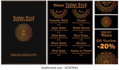 Menu for a restaurant of pan-asian or Indian cuisine. Hand-drawn mandala on a black background. Business cards and gift voucher with the elements of the mandala.