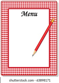 MENU. Retro menu for restaurant, cafe, diner, drive in or bistro with copy space to add your custom text, pencil, red check gingham frame. EPS8 compatible.