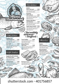 menu seafood. vector template brochure or flyer restaurant and cafe with hand drawn sketch graphic food