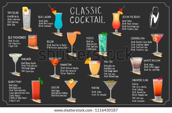 Menu Set Vector Illustration Different Cocktails Stock