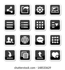 Menu settings tools icons set