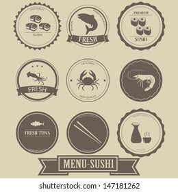 Menu Sushi Label Design