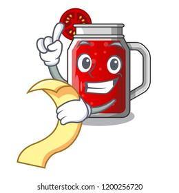 With menu tasty tomato juice on cartoon table