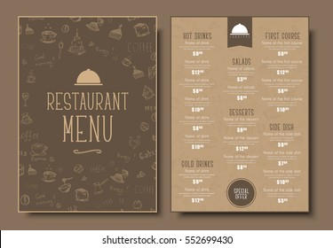 Menu template for cafe or restaurant in a retro style. Design 2 A4 pages with drawings by hand on an old cardboard. Vector illustration
