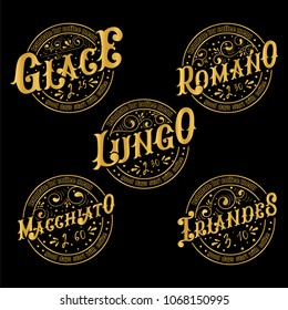 Menu template for coffee.Gold lettering.Names of coffee drinks. Irlandes, Glace, Romano, Lungo,Macchiato.