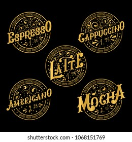 Menu template for coffee.Gold lettering.Names of coffee drinks.Espresso, Cappuccino, Latte, Americano, Mocha.