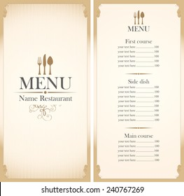 menu template with cutlery fork, spoon and knife