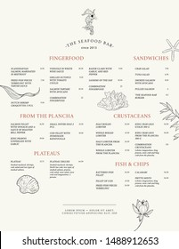 Menu template for a fish restaurant. Seafood. Vector design menu with marine elements: algae, shells, seahorse, corals.