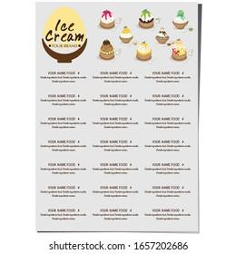 menu template Ice cream dessert restaurant brand design graphic object.