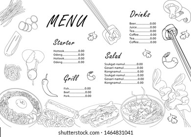 Menu template for Korean cuisine cafe. Asian black outline dishes bibimbap, gimbap, guksu, odeng, galbi-gui on white background. Vector design with hand-drawn graphic illustrations.