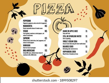 Menu template for restaurant and cafe. Minimalistic design with abstract and flat illustrations of vegetables. Design in trendy style. Vector illustration