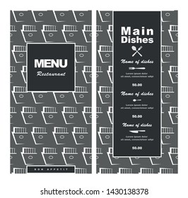 Menu template for restaurant, fast food, bistro, pub, cafe. Vector illustration retro style in gray tones