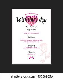 Menu template for Valentine Day dinner. Flyer with hand-drawn graphic elements in doodle style.