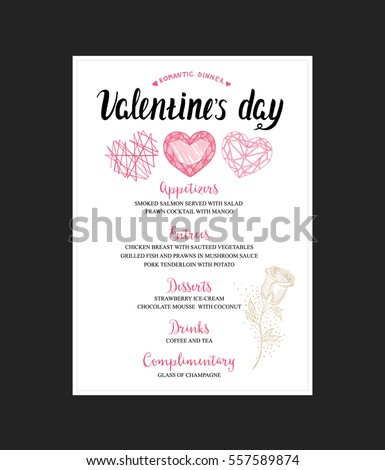 Menu Template Valentine Day Dinner Flyer Stock Vector Royalty Free