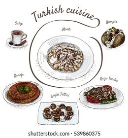Menu of Turkey colorful illustration. Vector illustration of turkish cuisine.