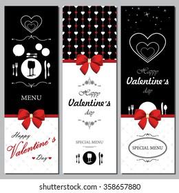 Menu for Valentine's Day. Restaurant menu.