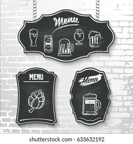 Menu with vector beer icons drawn in chalk on a black chalkboard hanging on a brick wall background. The illustration can be used for menu and signage of a bar, pub, cafe.
