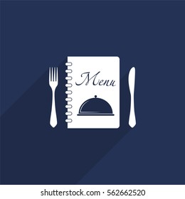 Menu vector icon with long shadow isolated on  blue