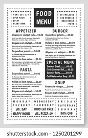 Menu vintage food template. Restaurant brochure. Banner for cafe. Classic flyer with daily specials. Retro background for typography.