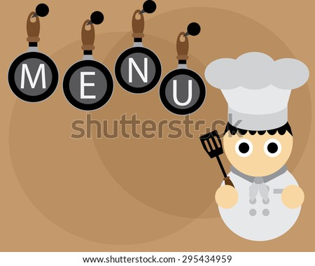 Menu Wallpaper With Chef In White Grey And Pans On Tan Background
