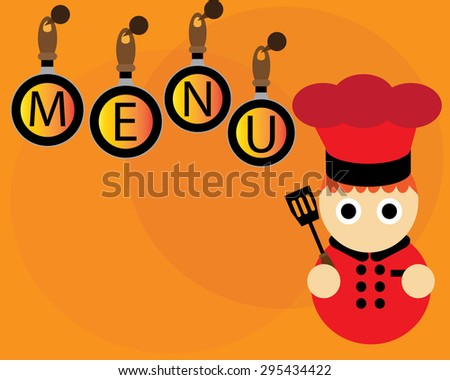 Menu Wallpaper With Red Chef And Pans On Orange Background