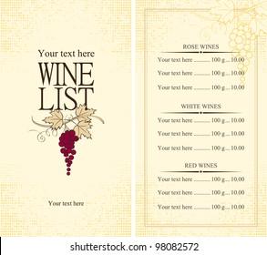 Menu wine list with grape vine
