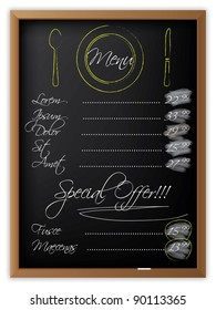 Menu written on a blackboard and with drawn dishes