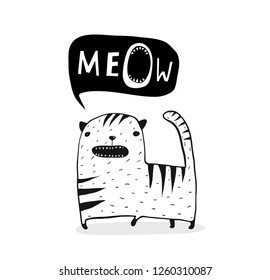 Meow Cat Outline Black and White. Cute funny cat cartoon talking speech bubble meow.