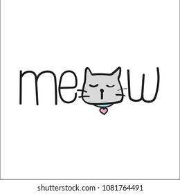 meow cute cat illustration vector