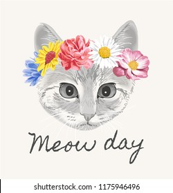 meow day with cat flower crown illustration