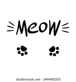 Meow lettering with cat whiskers and paws. Black drawing on white background. Vector illustration.