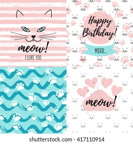 Meow! I love you, Happy Birthday Mrrr fashion graphic print, greeting cards set. Vector hand lettering on abstract painted backgrounds.