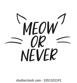 """Meow or Never"" Vector poster calligraphy with phrase and cat ears and whiskers illustration. Handdrawn brush elements. Isolated typography motivational card. Design lettering for t-shirt and prints."