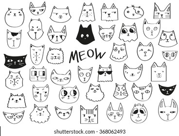 Meow poster. Hand drawn cats in black and white.