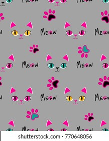 Meow seamless pattern. Girlish repeated backdrop with grey background, kitty face elements eyes, earth, track paw, text. Childish style. Animal wallpaper. Cats design