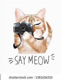 meow slogan with cartoon cute cat holding camera illustration