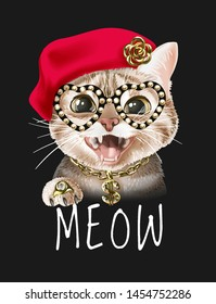 meow slogan with cat in fashion costume illustration