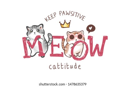 meow slogan with cute cartoon cats illustration