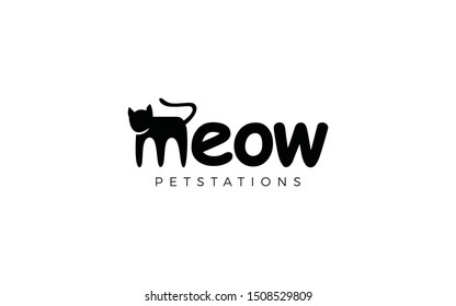 Meow word mark logo forms a cat in letter m