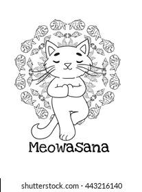 Meowasana. Funny cartoon cat practicing yoga and fishes' mandala.