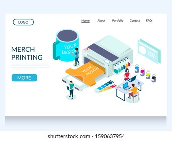 Merch printing vector website template, web page and landing page design for website and mobile site development. Custom apparel t-shirt printing services.