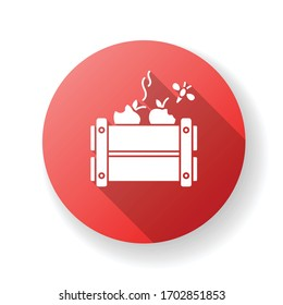 Merchandise spoilage red flat design long shadow glyph icon. Rotten products, damaged package, improper storage and transportation result. Goods damage. Silhouette RGB color illustration