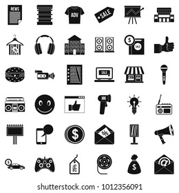 Merchandising icons set. Simple set of 36 merchandising vector icons for web isolated on white background