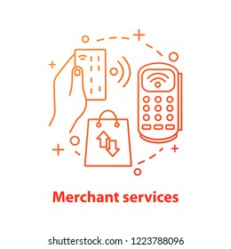 Merchant services concept icon. NFC technology. Contactless payment idea thin line illustration. Shopping. Purchase. Vector isolated outline drawing