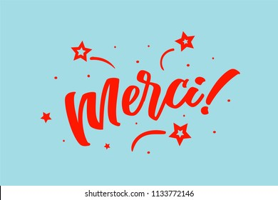 Merci card. Beautiful greeting scratched calligraphy red text word stars. Hand drawn invitation design. Handwritten modern brush lettering blue background vector