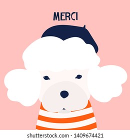 Merci. French poodle dog. Little puppy with barret hat and striped shirt. Cute funny character. Hand drawn vector greeting card for apologies. Colored trendy illustration. Flat design