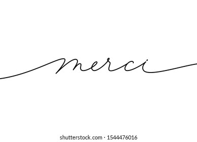 Merci hand drawn modern calligraphy phrase. Thank you in French language. Ink illustration of modern brush calligraphy isolated on white background. Can be used on greeting cards, poster, banners etc.