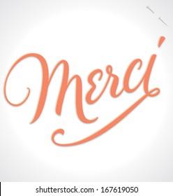 MERCI hand lettering -- custom handmade calligraphy, vector (eps10)