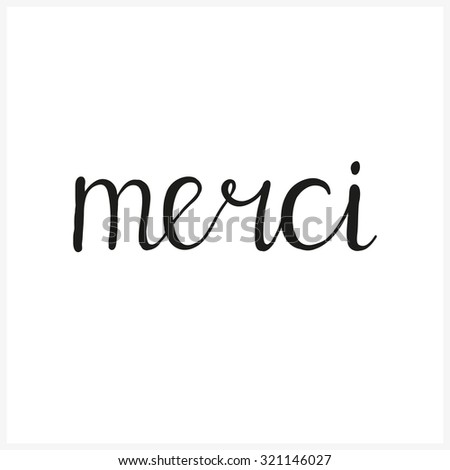 merci hand written calligraphic word created stock vector royalty