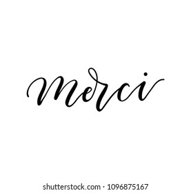 "Merci lettering inscription in french means ""thank you"" in English. Modern lettering isolated on white background. Vector illustration for cards, invitations, prints etc."